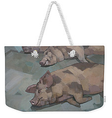 Weekender Tote Bag featuring the painting Sleeping Pigs by Steve Mitchell