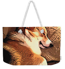 Banjo The Sleeping Welsh Corgi Weekender Tote Bag