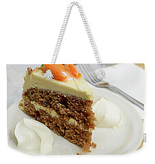 Weekender Tote Bag featuring the photograph Slice Of Carrot Cake With Cream A by Jacek Wojnarowski