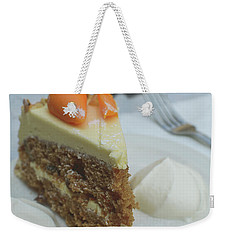 Weekender Tote Bag featuring the photograph Slice Of Carrot Cake With Cream B by Jacek Wojnarowski