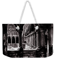 Weekender Tote Bag featuring the photograph Sligo Abbey Interior Bw by RicardMN Photography