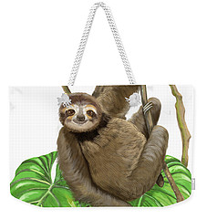 Weekender Tote Bag featuring the mixed media Hanging Three Toe Sloth  by Thomas J Herring