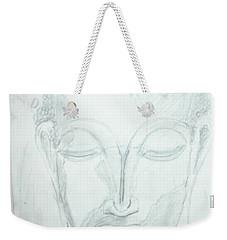 Weekender Tote Bag featuring the drawing Slumbering Buddha by Sharyn Winters
