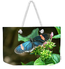 Small Black Postman Butterfly Weekender Tote Bag
