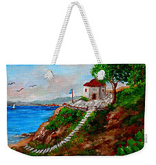 Small Church In Greece Weekender Tote Bag