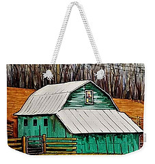 Small Green Barn With Quilted Window Weekender Tote Bag by Jim Harris