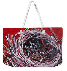 Small Nest On Red Weekender Tote Bag