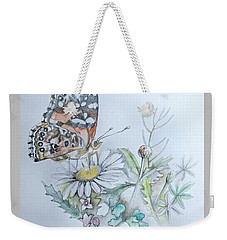Weekender Tote Bag featuring the drawing Small Pleasures by Rose Legge