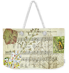 Weekender Tote Bag featuring the mixed media Small Tortoiseshell Butterfly Collage by Jan Bickerton