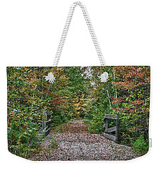 Weekender Tote Bag featuring the photograph Small Trestle Along Rail Trail by Jeff Folger