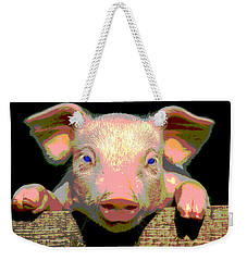 Weekender Tote Bag featuring the mixed media Smart Pig by Charles Shoup