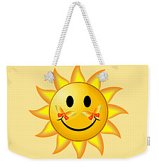 Weekender Tote Bag featuring the digital art Smiley Face Sun by Robert G Kernodle