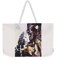 Weekender Tote Bag featuring the painting Smiling Faces- Bayon Temple, Cambodia by Ryan Fox