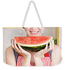 Smiling Young Woman Eating Fresh Fruit Watermelon Weekender Tote Bag