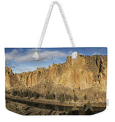 Weekender Tote Bag featuring the photograph Smith Rock And Crooked River Panorama by Belinda Greb