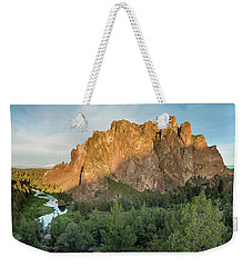 Weekender Tote Bag featuring the photograph Smith Rock First Light by Greg Nyquist