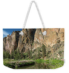 Weekender Tote Bag featuring the photograph Smith Rock Spires by Greg Nyquist