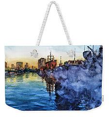 Weekender Tote Bag featuring the painting Smoke On The Water by Bernardo Galmarini