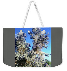 Weekender Tote Bag featuring the photograph Smoke Tree In Bloom With Blue Purple Flowers by Jay Milo