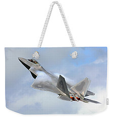 Weekender Tote Bag featuring the digital art Smokin - F22 Raptor On The Go by Pat Speirs