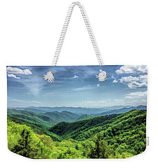 Weekender Tote Bag featuring the painting Smoky Mountains Lush Hills by Christopher Arndt