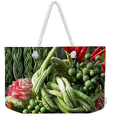 Weekender Tote Bag featuring the photograph Snake Beans. At The Surin Elephant by Mr Photojimsf