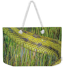Weekender Tote Bag featuring the digital art Snake In The Grass Textures by Richard Goldman