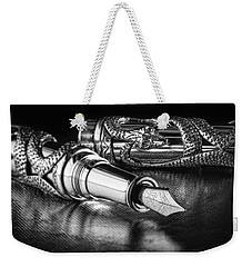 Snake Pen In Black And White Weekender Tote Bag by Tom Mc Nemar