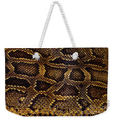 Weekender Tote Bag featuring the photograph Snake Skin by Kathy Baccari