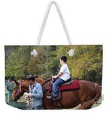 Sneaker Wearing Cowboy Weekender Tote Bag by Kim Henderson