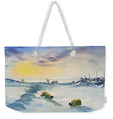 Snow And Sheep On The Moors Weekender Tote Bag