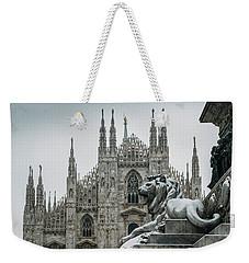 Snow At Milan's Duomo Cathedral  Weekender Tote Bag