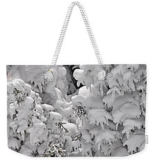 Weekender Tote Bag featuring the photograph Snow Coat by Alex Grichenko