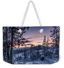 Snow Coved Trees And Sunset Weekender Tote Bag