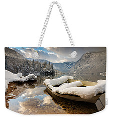 Snow Covered Boat On Lake Bohinj In Winter Weekender Tote Bag