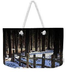Snow Covered Bridge Weekender Tote Bag by Kim Henderson