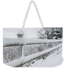 Snow Covered Fence Weekender Tote Bag by Helen Northcott