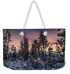 Snow Covered Pine Trees Weekender Tote Bag
