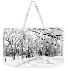 Snow Covered River Road Weekender Tote Bag by Kathy M Krause