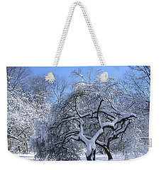 Weekender Tote Bag featuring the photograph Snow-covered Sunlit Apple Trees by Byron Varvarigos