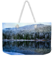Snow Covered Trees Reflections Weekender Tote Bag by Lynn Hopwood