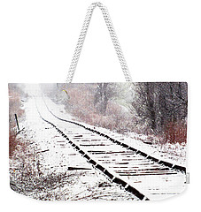 Snow Covered Wisconsin Railroad Tracks Weekender Tote Bag