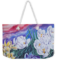 Snow Crocus Weekender Tote Bag