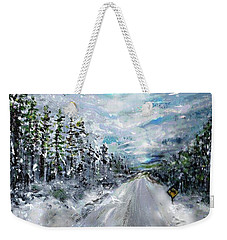 Weekender Tote Bag featuring the painting Snow Drift by Desline Vitto
