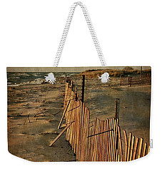 Weekender Tote Bag featuring the photograph Snow Fence And Lake Michigan by Michelle Calkins