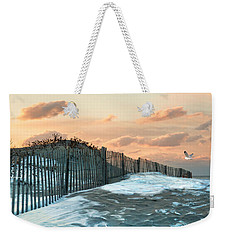 Weekender Tote Bag featuring the photograph Snow Fence by Robin-Lee Vieira