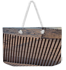 Weekender Tote Bag featuring the photograph Snow Fences 2.0 by Michelle Calkins