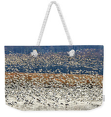 Weekender Tote Bag featuring the photograph Snow Geese At Willow Point by Lois Bryan