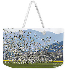 Snow Geese Exodus Weekender Tote Bag by Mike Dawson