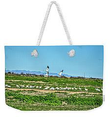Snow Geese Feeding Weekender Tote Bag